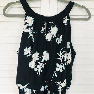Knapp Studio Black Halter Style Floral Dress Sz L